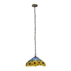 Meyda Tiffany - Meyda Tiffany Wild Sunflower Pendant Light X-065911 - Perfect for any summer house, this Tiffany pendant is flourished with the backdrop of sunflowers growing on a bright blue summer day. Meyda Tiffany carefully crafted this pendant light so that the shade will come alive and make any room feel dynamic.