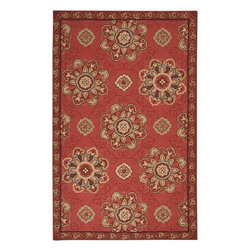 Surya Rugs - Rain Indoor / Outdoor Hand Hooked 100% Polypropylene Red Rug RAI-1071 - 100% Polypropylene. Style: Indoor / Outdoor. Rugs Size: 3' x 5'. Note: Image may vary from actual size mentioned.