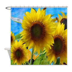 usa - Sun Flower Garden Shower Curtain - Beautiful shower curtains created from my original art work. Each curtain is made of a thick water resistant polyester fabric. The permanently applied art work appears on the front side with the inside being white. 12 button holes for easy hanging, machine washable and most importantly made in the USA. Shower rod and rings not included. Size is a standard 70''x70''