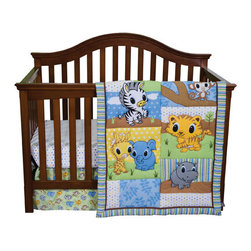 """Trend Lab - Riley Tiger And Friends - 3 Piece Crib Bedding Set - Discover the wild with Riley Tiger! Trend Lab's Riley Tiger and Friends 3-Piece Crib Bedding Set features Riley Tiger with his adorable baby jungle friends interacting in a delightful patch-like scene. Decorative quilting stitches add a charming flair, bringing the cute little critters to life, while a variegated stripe frame and chocolate trim add detail and dimension to this adorable group. Decorate your nursery with adorable prints and cute characters featured in a neutral color palette of sage, sky and powder blue, caramel and buttercup yellow with chocolate and stone gray accents. Quilt measures 35"""" x 42"""" and features charming little critters in a patch-like scene on the front and a baby jungle animal scatter print on the back providing decorating versatility. Crib sheet features a lovely white based mini square print in sage, sky and powder blue, caramel and buttercup yellow with chocolate and stone gray accents. Sheet fits a standard 52"""" x 28"""" crib mattress and has 8"""" deep pockets with elastic surrounding the entire opening ensuring a more secure fit. Box Pleat Skirt with 13.5"""" drop features an adorable baby jungle animal scatter print in a lovely color palette of sage, sky and powder blue, caramel and buttercup yellow with chocolate and stone gray accents. Coordinating Riley Tiger and Friends and Chibi Zoo Crib Bumpers and room accessories by Trend Lab are sold separately."""
