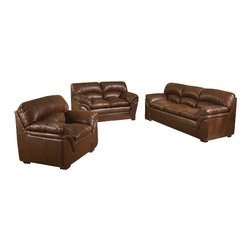 "AC Pacific - 2 pc Joyce brown bonded leather sofa and love seat set with overstuffed arms - 2 pc Joyce brown bonded leather sofa and love seat set with overstuffed arms and seats.  This set features a sofa and love seat with overstuffed arms and seats.  sofa measures 84"" x 37"" x 38"" H.  love seat measures 63"" x 37"" x 38"" H.  Optional chair and ottoman also available separately and at additional cost and measures 42"" x 37"" x 38"" H, ottoman measures 28"" x 37"" x 36"" H.  Some assembly required."