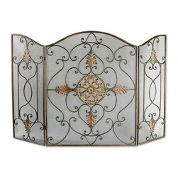 Grace Feyock - Grace Feyock Egan Traditional Fireplace Screen X-80502 - This attractive fireplace screen is made of wrought iron. The dark brown basecoat is covered with a semi-transparent dark gray wash and a tan glaze. The perfect finishing touch to a fireplace.