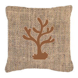 Caroline's Treasures - Coral Burlap and Brown Fabric Decorative Pillow Bb1101 - Indoor or Outdoor Pillow from heavyweight Canvas. Has the feel of Sunbrella Fabric. 18 inch x 18 inch 100% Polyester Fabric pillow Sham with pillow form. This pillow is made from our new canvas type fabric can be used Indoor or outdoor. Fade resistant, stain resistant and Machine washable..