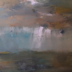 Tony Mose - 3x4 Abstract Landscape Acrylic Painting - Beautiful 3x4 unframed muted landscape done in acrylic earth tones.  This painting reads as an abstract while dipicting a claming view of a landscape.