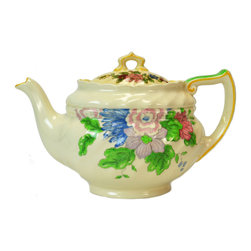 Lavish Shoestring - Consigned Teapot w/ Colourful Floral Decoration by Royal Doulton, English, 1930s - This is a vintage one-of-a-kind item.