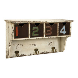 iMax - Harmon Wall Shelf with Hooks - In an antiqued ivory shade, the Harmon wall shelf features open view metal screen drawers numbered in multiple jewel tone colors and three hooks.