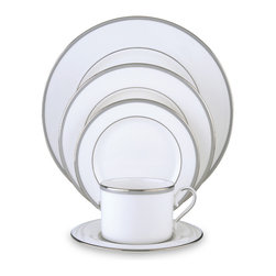 Lenox - Lenox Columbus Circle 5-Piece Dinnerware Place Setting - Alluding to its name,this Lenox pattern features concentric circles formed by slender platinum bands over a faint blue background. Crafted of Lenox bone china accented with precious platinum. Made in the USA.