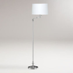 Brushed Steel Swing Arm Floor Lamp -