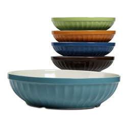 Tabletops Unlimited - 5 Piece Cafe Multi Pasta Set - Dishwasher Safe.  Microwave Safe. Material: Stoneware . 12 in. Large Bowl. (4) 8 in. Individual BowlsOur Paris Café style serving set adds 'Ooo La La' to your tabletop. Inspired by the famous French Jelly Glass of Paris cafes, our Café high-fired stoneware collection brings timeless style and superior performance to today's kitchen.