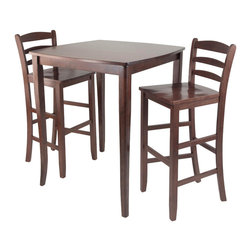 """Winsome - 3pc Inglewood High/Pub Dining Table with Ladder Back Stool - 3pc Set comes with Inglewood High Table features Curved Table Top with flare legs. Constructed from Solidwood in Antique Walnut Finish. Ladder Back Chair in solidwood completes this set. Perfect for any kitchen.; Inglewood Collection; Finish: Antique Walnut; Material: Solid wood; Assembly Required?: Yes; Weight: 85 lbs.; Dimensions: Table: 33.86""""L x 33.86""""W x 38.9""""H; Stool: 16.58""""L x 19.35""""W x 42.46""""H"""