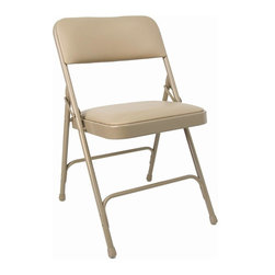 KFI Seating - Folding Chair w Vinyl Padded Seat & Back in B - Color: BeigeSet of 4 folding chair. Beige frame. 1.25 in. Padded seat and back with beige vinyl. Double hinged. 0.88 in. Round. 18mm Gauge powder-coated steel. Double riveted cross-braces. Non-marring floor glides. 18.5 in. W x 19.75 in. D x 30 in. H
