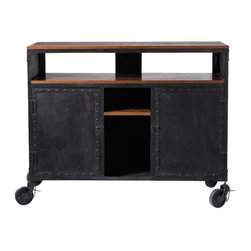 Bar Industry - With riveted metal and stained wood, this bar cart is definitely masculine. But thankfully its stylish look veers more towards sophisticated than man cave.