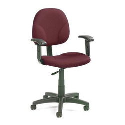 BOSS Chair - Task Chair In Burgundy Fabric w Contoured Bac - Enrich your office and improve your posture with this Diamond task chair wrapped in burgundy fabric. Its adjustable arm rests, wide, contoured base and back rest go a long way in ensuring that you are comfortable as you work at your desk. Its bright burgundy upholstery spruces up your casual office decor, encouraging a bolder theme around your work space. Contoured back and seat provides support and helps relieve back strain. Extra large seat and back cushions. Pneumatic gas lift seat height adjustment. Adjustable arms 4 standard fabric colors. Cushion color: Burgundy. Base/wood: Black. Seat size: 19.5 in. W x 18 in. D. Seat height: 17 in. -22 in. H. Arm height: 24 in. -32 in. H. Overall dimension: 25 in. W x 25 in. D x 32-40 in. H. Weight capacity: 250 lbs