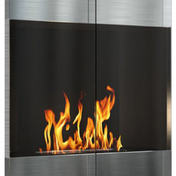 DecoFlame - City Modern Ethanol Wall Mounted Fireplace, Stainless Steel - City provides an ultra-modern and sleek aesthetic to any space using its rectangular frame offered in stainless steel and black. This fireplace offers an eco-friendly flame that is odorless. Bio Ethanol, an alternative fuel source produced from plants, only emits water vapor and carbon dioxide into the air, therefore no chimney or flue is needed. Although ethanol fireplaces aren't intended for use as a primary heat source, the City model produces approximately 8,000 btu with the help of its stainless burner, which will change the noticeable temperature in a room of approximately 375 square feet. For aesthetic appeal and safety, this fireplace includes two tempered glass sliding doors that are situated in front of the flame. Appropriate for any modern or contemporary living space, City can be mounted on the wall using the included hardware.