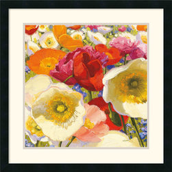Amanti Art - Sunny Abundance II Framed Print by Shirley Novak - Infuse your walls with color! This bright, beautiful floral framed art print by Shirley Novak celebrates the timeless joy of poppies.
