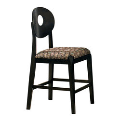 Steve Silver Furniture - Steve Silver Optima Counter Height Stool - The Optima Counter Height chairs are sure to modernize your home's decor. These counter height chairs are in a sleek black finish with a bold contemporary pattern on the upholstered seats.