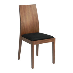 Euro Style - Deanna Side Chair - Set of 2 - Set of 2. Walnut veneer back. Solid walnut wood legs. Black microfiber seat. Seat height: 19 in.. Durable, easy-to-clean microfiber fabric. Sturdy, solid wood legs. No assembly required. Color/Finish: Walnut/Black . 17.75 in. L x 22 in. W x 37.5 in. H