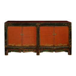 """China Furniture and Arts - 4-Door Mongolian Cabinet - Sporting a weathered and worn look, this unique cabinet's doors are a bold orange color, painted by hand and aged to perfection. Two spacious double-door compartments, measuring 33.5""""W x 13.25""""D x 22""""H each, provide ample storage space and contain a removable shelf for your convenience. An elegant arrangement of red flowers on a light green background adorns the bottom of each compartment, making this cabinet a perfect sideboard for the dining room or a media cabinet for the living room . Completely hand constructed of solid Elmwood and delivered fully assembled. (Display accessories are not included)."""