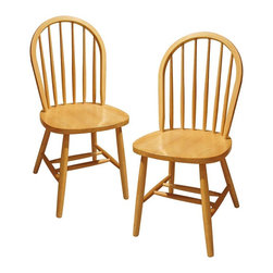 """Winsome Wood - Windsor Design Beechwood Chair - Set of 2 - Another great chair in the Windsor design, this beech wood beauty can be used for multiple purposes. Put them in the kitchen around a table, or get a few as extras for when guests come over- they come in a set of two, making it easier. Classic country house look in a natural finish will match almost any kitchen. * Beechwood finish. Windsor Design. Comes in a pair (2 Chairs). No assembly required. Seat Height: 17.48 inches. 37"""" H x 17.5"""" W x 16.5"""" D. 33 lbs"""