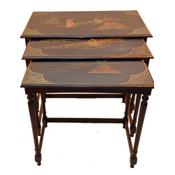 top quality - Consigned Nest Of Tables Hollywood Regency Ebonized Chinoiserie James Mont Style - We are offering a wonderful set of 3 , vintage muted black ebonized Chinoiserie nest of  tables. Top quality! Perfect Hollywood Regency. James Mont style!