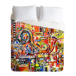 DENY Designs - Robin Faye Gates It Came From Detroit Duvet Cover - Turn your basic, boring down comforter into the super stylish focal point of your bedroom. Our Luxe Duvet is made from a heavy-weight luxurious woven polyester with a 50% cotton/50% polyester cream bottom. It also includes a hidden zipper with interior corner ties to secure your comforter. it's comfy, fade-resistant, and custom printed for each and every customer.