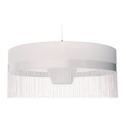 Modernist Shingle 2 Suspension Lamp - Modernist Shingle 2 Suspension LampInspired by Moooi Fringe Model 2 Suspension Lamp, The Shingle 1 pendant is an exquisite reproduction and true to the original design.  This stunning lamp consists of a textile lampshade over a minimalist base. All with a slightly vintage feel yet is still uber contemporary in effect.