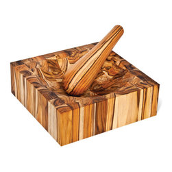 "Proteak - Proteak Teak Mortar and Pestle  - 4""-Thick End-Grain Mortar Board - This teak mortar and pestle set from Proteak makes the perfect gift for the aspiring culinary. 12 by 12 inch mortar is end-grain style butcher block."