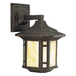 Progress Lighting - Progress Lighting P5628-46 Arts & Crafts Single-Light Small Outdoor Wall Lantern - Honey art glass pays homage to the earthy palette and geometric shapes of the Arts and Crafts tradition. A Weathered Bronze complements the hipped-pitch roof and frame of each fixture, creating a natural feel in this ruggedly classic outdoor wall sconce.  A 120 volt NPF ballast and solid brass construction ensure durable and reliable operation.Features: