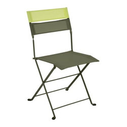 "Fermob - Latitude Folding Chair Set of 2 by Fermob - Improve your attitude with the Fermob Latitude Folding Chair Set of 2. This set of lightweight folding chairs features airy yet durable OTF (outdoor technical fabric) stretched across a drawn steel frame. The seat and lower band of OTF match the finish on the frame, while another removable band tops the whole piece with a pop of contrasting color. Based in Thoissey, France, Fermob has been creating fine outdoor furniture since 1953. Their current line of colorful and comfortable aluminum and steel furniture promotes the ""Outdoor Lounge"" way of life. It encourages outdoor rest and relaxation while caring for, protecting and improving the environment it inhabits. All Fermob outdoor furniture is made in France out of recyclable materials."