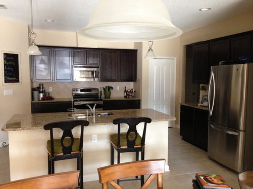 Paint color for kitchen with espresso cabinets, neutral granite