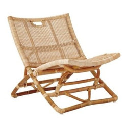 Serena & Lily - Palisades Chair - A fold-up frame, a comfy seat, built-in carrying handles everything about this chair will prove to be indispensable. Designed to perch just above the ground, it's made of natural woven rattan over a bent rattan frame.
