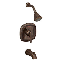 American Standard - American Standard T005.502.224 Copeland Bath/Shower Trim Kit, Oil-Rubbed Bronze. - This American Standard T005.502.224 Copeland Bath/Shower Trim Kit is part of the Copeland collection, and comes in a beautiful Oil Rubbed Bronze finish. This valve only trim kit features a metal wall escutcheon, a metal lever handle, an adjustable 3-function shower head, a shower arm, a flange, and slip-on diverter tub spout.