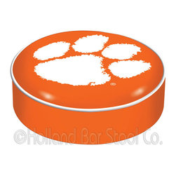 """Holland Bar Stool - Holland Bar Stool BSCClmson Clemson Seat Cover - BSCClmson Clemson Seat Cover belongs to College Collection by Holland Bar Stool This Clemson bar stool cushion cover is hand-made in the USA by Covers by HBS; using the finest commercial grade vinyl and utilizing a step-by-step screen print process to give you the most detailed logo possible. This cover slips over your existing cushion, held in place by an elastic band. The vinyl cover will fit 14"""" diameter x 4"""" thick seats. This product is Officially Licensed. Make those old stools new again while supporting your team with the help of Covers by HBS! Seat Cover (1)"""
