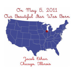 Map Birth Announcement, Navy Blue by Just Bunch Designs - This is a great piece for the nursery.
