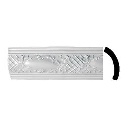 Renovators Supply - Cornice White Urethane Brook White - Cornice - Ornate | 19969 - Cornices: Made of virtually indestructible high-density urethane our cornice is cast from steel molds guaranteeing the highest quality on the market. High-precision steel molds provide a higher quality pattern consistency, design clarity and overall strength and durability. Lightweight they are easily installed with no special skills. Unlike plaster or wood urethane is resistant to cracking, warping or peeling.  Factory-primed our cornice is ready for finishing.  Measures 5 1/2 inch H x 47 1/4 inch L.