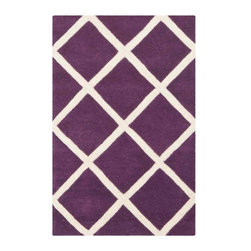 Safavieh - Celestia Hand Tufted Rug, Purple / Ivory 2' X 3' - Construction Method: Hand Tufted. Country of Origin: India. Care Instructions: Vacuum Regularly To Prevent Dust And Crumbs From Settling Into The Roots Of The Fibers. Avoid Direct And Continuous Exposure To Sunlight. Use Rug Protectors Under The Legs Of Heavy Furniture To Avoid Flattening Piles. Do Not Pull Loose Ends; Clip Them With Scissors To Remove. Turn Carpet Occasionally To Equalize Wear. Remove Spills Immediately. A timeless quatrefoil motif makes a global design statement in the subtle but sophisticated Desai area rug. These stunning hand-tufted wool rugs are crafted in India to recreate the elegant look of hand-knotted carpets for today's lifestyle interiors.