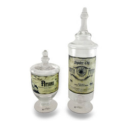Zeckos - Bethany Lowe Glass Apothecary Style Potion Jars Set of 2 - The perfect place to store your witch and magic potions (or candy and cookies) is within this set of 2 awesome apothecary style glass jars designed by Bethany Lowe. Featuring printed labels to ensure years of enjoyment, the taller jar stores 'Spider Oil Witch Potion' for the use in charms, spells and formulas while the smaller jar holds 'Instant Magic Potions', mystifying potions for all spooks, ghouls and creepers who haunt on Halloween, and are great to display on Halloween or all year The tall jar stands 14 inches (36 cm) high and 4.75 inches (12 cm) in diameter while the smaller jar is 8.5 inches (22 cm) high and 4 inches (10 cm) in diameter, and would make a magical gift any Halloween fanatic is sure to delight in