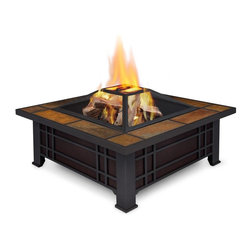 Real Flame - Morrison Fire Pit - Burns seasoned firewood or converts to Real Flame Gel Cans with the addition of Real Flame 2-Can or 4-Can Outdoor Conversion Log Sets. Heat resistant powder coated steel frame with natural slate tile top. Includes: spark screen, log poker tool and protective storage cover. 90 day limited warranty. Basic assembly requiredCreate an inviting outdoor environment with the Morrison Fire Pit. The mission inspired styling and natural slate tile top are combined for a unique wood burning fire pit design. Includes spark screen, log poker tool and vinyl protective storage cover. The Morrison Fire Pit can be adapted for Real Flame Gel cans with the addition of the Real Flame 2-Can or 4-Can OutdoorConversion Log Sets.