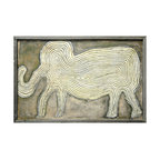 Kathy Kuo Home - Gray Elephant In The Room Reclaimed Wood Vintage Wall Art - An elephant symbolizes so many things: Strength, power, wisdom and remembrance, to name a few. With its reclaimed wood frame and folk art design, this sweetly rendered elephant is sure to mean something special to you too.