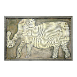 Kathy Kuo Home - Elephant in the Room Reclaimed Wood Wall Art, Gray - An elephant symbolizes so many things: Strength, power, wisdom and remembrance, to name a few. With its reclaimed wood frame and folk art design, this sweetly rendered elephant is sure to mean something special to you too.