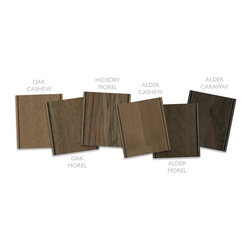 Dura Supreme Cabinetry - Dura Supreme Gray Stain Finish Collection - New Dura Supreme Cabinetry Stain Colors Shown on Hickory - Dura Supreme introducing 5 new gray-brown stains for 2013. With the different wood species and the addition of glazes and accents, this includes 27 new color chips (with the new colors)! The new colors include Cashew, Morel, Caraway, Praline, and Poppy Seed.