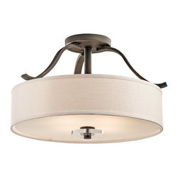 Kichler - Kichler 42486OZ Leighton 4 Light Semi-Flush Indoor Ceiling Fixture - A true blend of traditional and contemporary, this 4 light semi flush ceiling fixture from the Leighton�� collection is the epitome of elegant, enduring design. This distinctive style radiates a classic ambience with its inviting Olde Bronze finish, Satin Etched Glass, White Linen shade and soft, sweeping curves.
