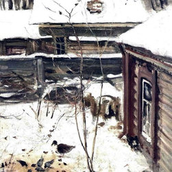 "Alexei Kondratevich Savrasov A Yard, Winter - 18"" x 24"" Premium Archival Print - 18"" x 24"" Alexei Kondratevich Savrasov A Yard, Winter premium archival print reproduced to meet museum quality standards. Our museum quality archival prints are produced using high-precision print technology for a more accurate reproduction printed on high quality, heavyweight matte presentation paper with fade-resistant, archival inks. Our progressive business model allows us to offer works of art to you at the best wholesale pricing, significantly less than art gallery prices, affordable to all. This line of artwork is produced with extra white border space (if you choose to have it framed, for your framer to work with to frame properly or utilize a larger mat and/or frame).  We present a comprehensive collection of exceptional art reproductions byAlexei Kondratevich Savrasov."