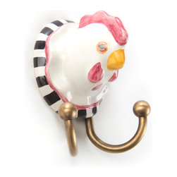 Chicken Hook | MacKenzie-Childs - A playful accent for cupboards, pie safes, buffets, and more. Handcrafted farm friends lighten the mood of any room.