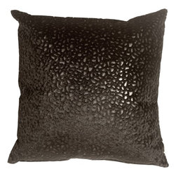 Pillow Decor - Pillow Decor - Pebbles in Black 18x18 Faux Fur Throw Pillow - Bring style and fashion into your home with this beautiful and unique decorative accent pillow. This black pebble print throw pillow is both stylish and practical. The base of the pillow is a smooth black faux leather, whereas the pebble pattern is a raised black faux fur, giving it a soft fun texture.