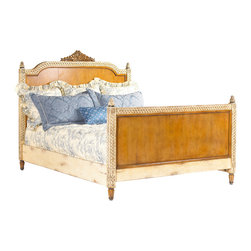 French Heritage - Lilles Wood Panel Queen Bed - A bed fit for a prince or princess, this Queen bed is a maple and mahogany tour de force. The French Louis XVI style is elegant and inviting, and paired with fine linens this bed will make your slumber feel like a fairytale.