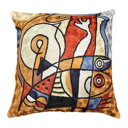 """Modern Silk - Decorative Fish Design Pillow Cover Hand Embroidered 18"""" x 18"""" - Decorative Fish design pillow cover hand embroidered - Modern Artist Wassily Kandinsky used the form of concentric circles to portray the soul. Here, the Kashmiri handcrafted interpretation of Kandinsky's Composition VI has elements of seed, of ovum, of birth and rebirth, the latter of which was a central theme in the composition. Rendered here as chain stitch embroidery in art silk, this cushion cover can create a new personality for any room in which you choose to use it."""