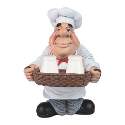 GSC - 10 Inch Chef in White Holding Salt and Pepper Shakers Figurine - This gorgeous 10 Inch Chef in White Holding Salt and Pepper Shakers Figurine has the finest details and highest quality you will find anywhere! 10 Inch Chef in White Holding Salt and Pepper Shakers Figurine is truly remarkable.