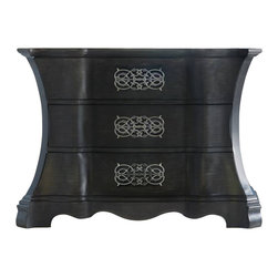 Hooker Furniture - High Drama Chest - The intimacy of intricate metalwork draped onto three curvaceous drawers is not for the faint of style. With drawers featuring wallpaper interiors and a sleek gray finish, this showpiece won't compete for attention. Talk about vanity!