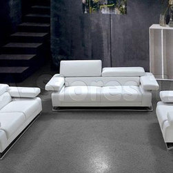 Linx 3 PC Modern White Leather Sofa Set (Sofa, Loveseat and Chair) - VIG Furnitu -